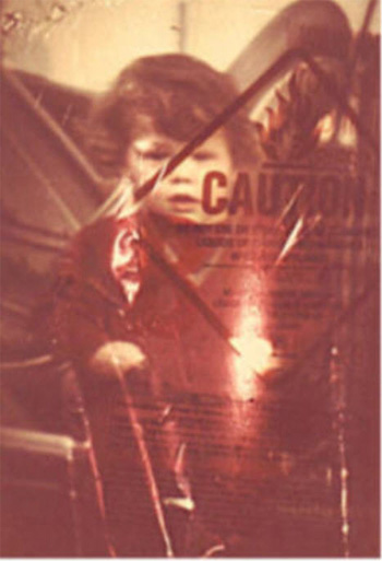 Image of a child superimposed over a caution label